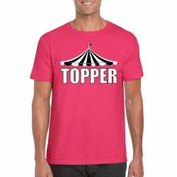 Circus t shirt roze topper witte letters heren
