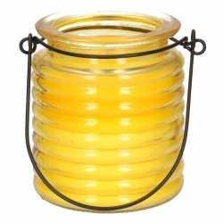 Citronellakaars in geel geribbeld glas 7,5