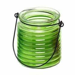 Citronellakaars in groen geribbeld glas 7,5