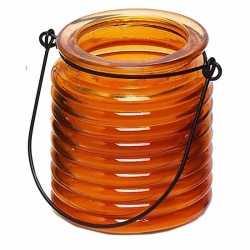 Citronellakaars in oranje geribbeld glas 7,5