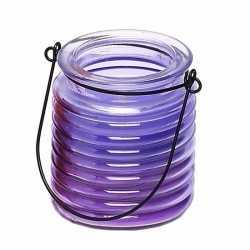 Citronellakaars in paars geribbeld glas 7,5