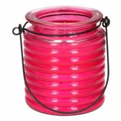 Citronellakaars in roze geribbeld glas 7,5