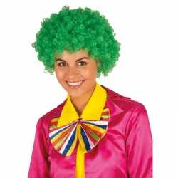 Clownspruik groene krulletjes verkleed accessoire