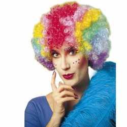 Clownspruik multikleuren dames