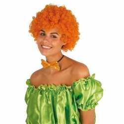 Clownspruik oranje krulletjes verkleed accessoire