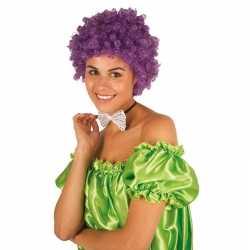 Clownspruik paarse krulletjes verkleed accessoire