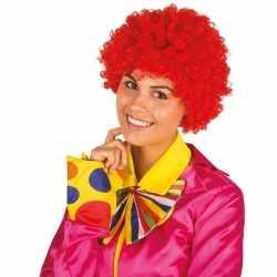 Clownspruik rode krulletjes verkleed accessoire