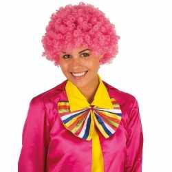Clownspruik roze krulletjes verkleed accessoire