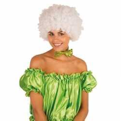 Clownspruik witte krulletjes verkleed accessoire