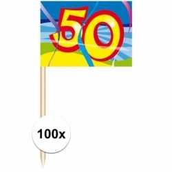 Cocktail prikkers 50 jaar 100 stuks