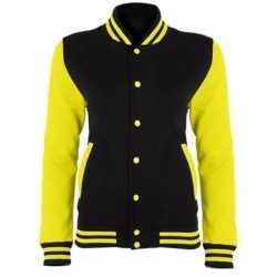 College jack zwart/fluor geel dames