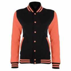College jack zwart/fluor oranje dames