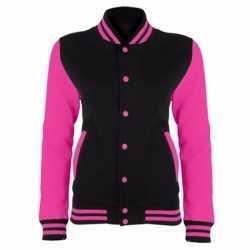 College jack zwart/fluor roze dames