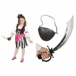 Compleet roze piraten kostuum meisjes