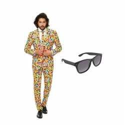 Confetti print heren kostuum maat 50 (l) gratis zonnebril