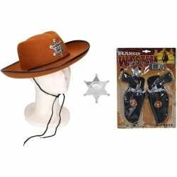 Cowboy accessoire set bruin kinderen