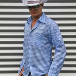 Cowboy blouse blauw heren