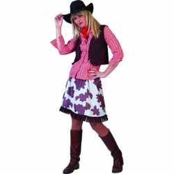 Cowboy blouse dames rood/wit