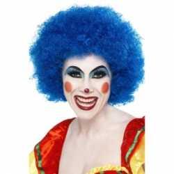 Crazy clown pruik blauw