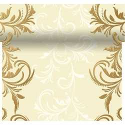 Creme witte tafelloper 3 in 1 creme barok print 480 bij 40