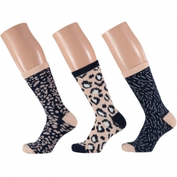 Dames fashion sokken 3 pak luipaard print beige/navy maat 35 42