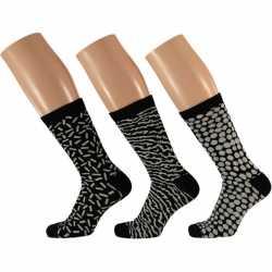Dames fashion sokken 3 pak zwart/wit maat 35 42 type 1