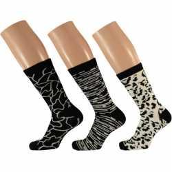 Dames fashion sokken 3 pak zwart/wit maat 35 42 type 2