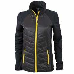 Dames hybride jas zwart geel