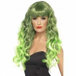 Dames pruiken krullen groen