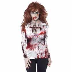 Dames shirt bloederige zombie opdruk