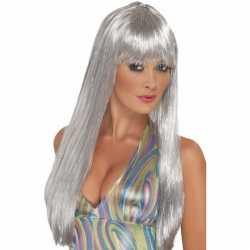 Damespruik disco zilver pony