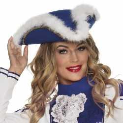 Dansmarieke hoed blauw/wit dames