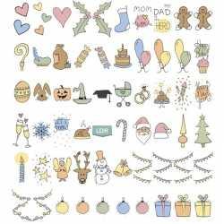 Deco lichtbak/lightbox feestdagen emoticons 60 stuks