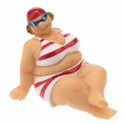 Decoratie beeld dikke dame 4 in rood/witte bikini