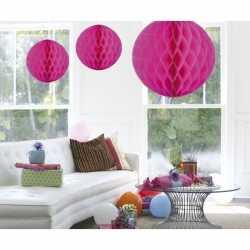 Decoratie bol fuchsia roze 50