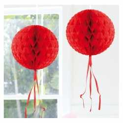 Decoratie bol rood 30