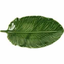 Decoratie bord/schaal groen blad van porselein 20
