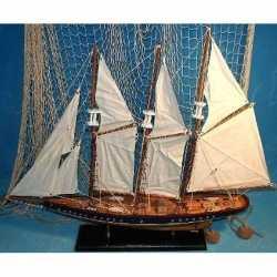 Decoratie houten model driemaster zeilschip 64
