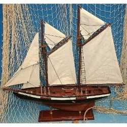 Decoratie houten model tweemaster zeilschip 50
