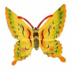 Decoratie vlinder geel 17 kunststof