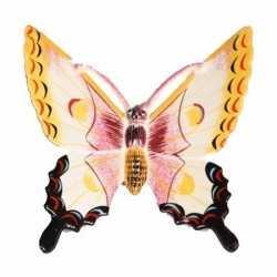 Decoratie vlinder wit/geel 11 kunststof