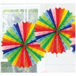 Decoratie waaier regenboog kleuren 45