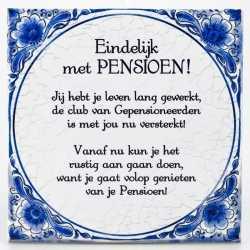 Delfts blauwe teksttegel pensioen