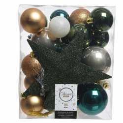 Dennengroen/goud/wit kerstballen pakket piek 33 stuks