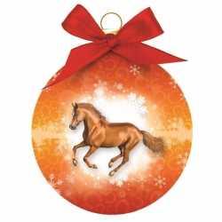 Dieren kerstbal paard oranje 8