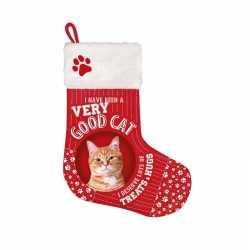 Dieren kerstsok rood kat/poes 37 bij 30