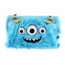 Dieren knuffeldeken monster blauw 100 bij 130