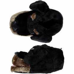 Dieren sloffen/pantoffels hond zwart kinderen