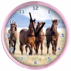 Dieren wandklok paarden roze 25