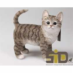 Dierenbeeld kat/poes tabby grijs staand 20